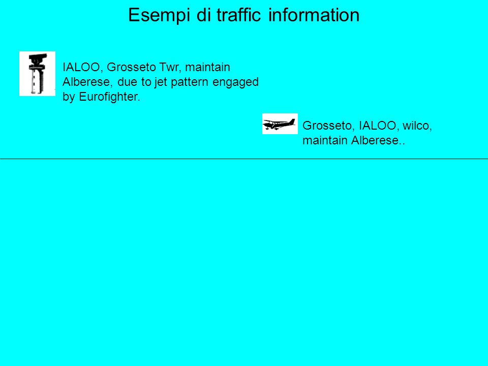 Esempi di traffic information IALOO, Grosseto Twr, maintain Alberese, due to jet pattern engaged by Eurofighter.