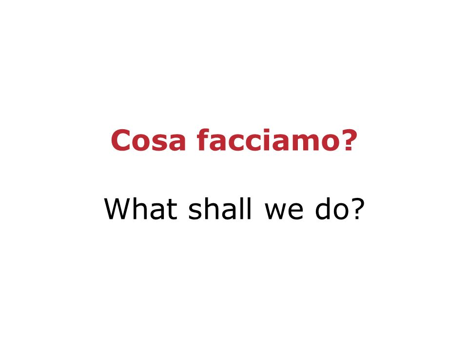 Cosa facciamo What shall we do