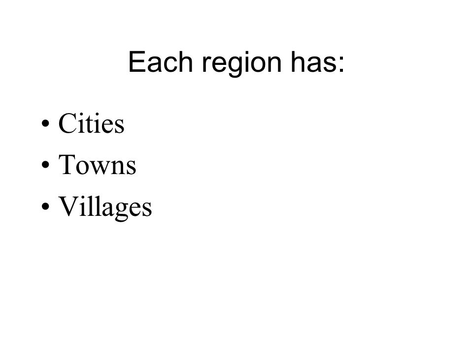 Each region has: Cities Towns Villages