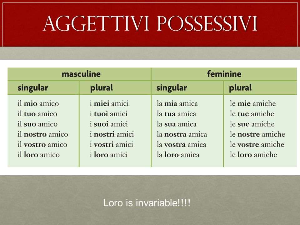 Aggettivi possessivi Loro is invariable!!!!
