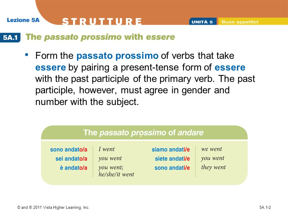 © and ® 2011 Vista Higher Learning, Inc.5A.1-2 Form the passato prossimo of verbs that take essere by pairing a present-tense form of essere with the past participle of the primary verb.