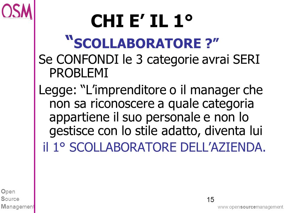 O pen S ource M anagement www.opensourcemanagement.it CHI E IL 1° SCOLLABORATORE .