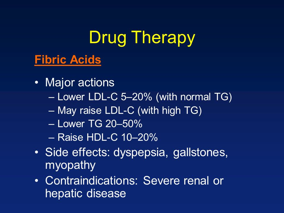 Drug Therapy Fibric Acids Major actions –Lower LDL-C 5–20% (with normal TG) –May raise LDL-C (with high TG) –Lower TG 20–50% –Raise HDL-C 10–20% Side effects: dyspepsia, gallstones, myopathy Contraindications: Severe renal or hepatic disease