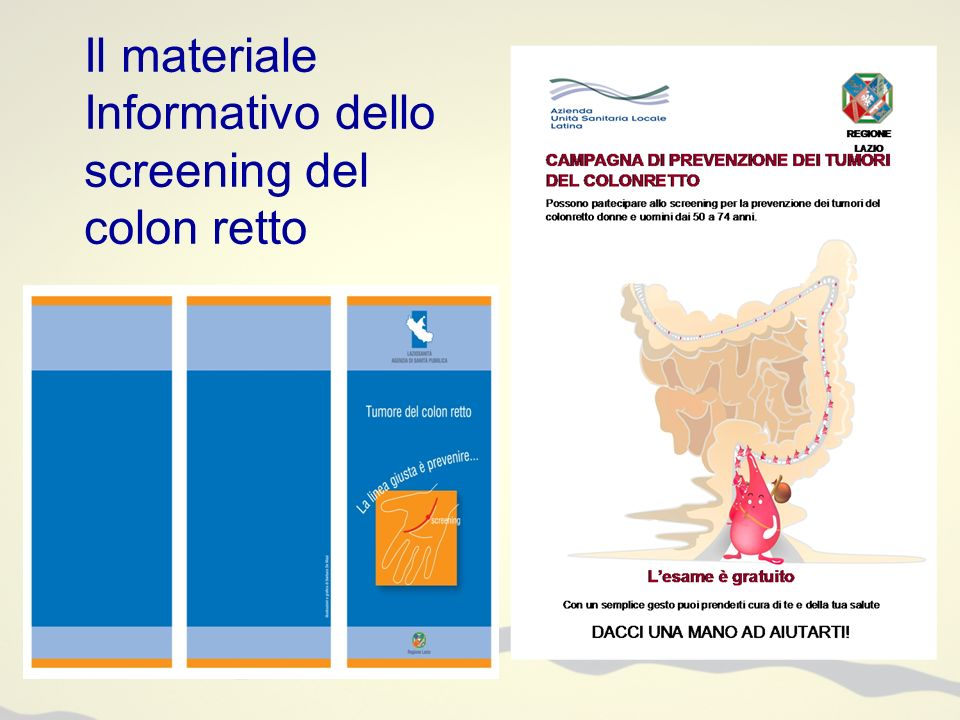 Il materiale Informativo dello screening del colon retto