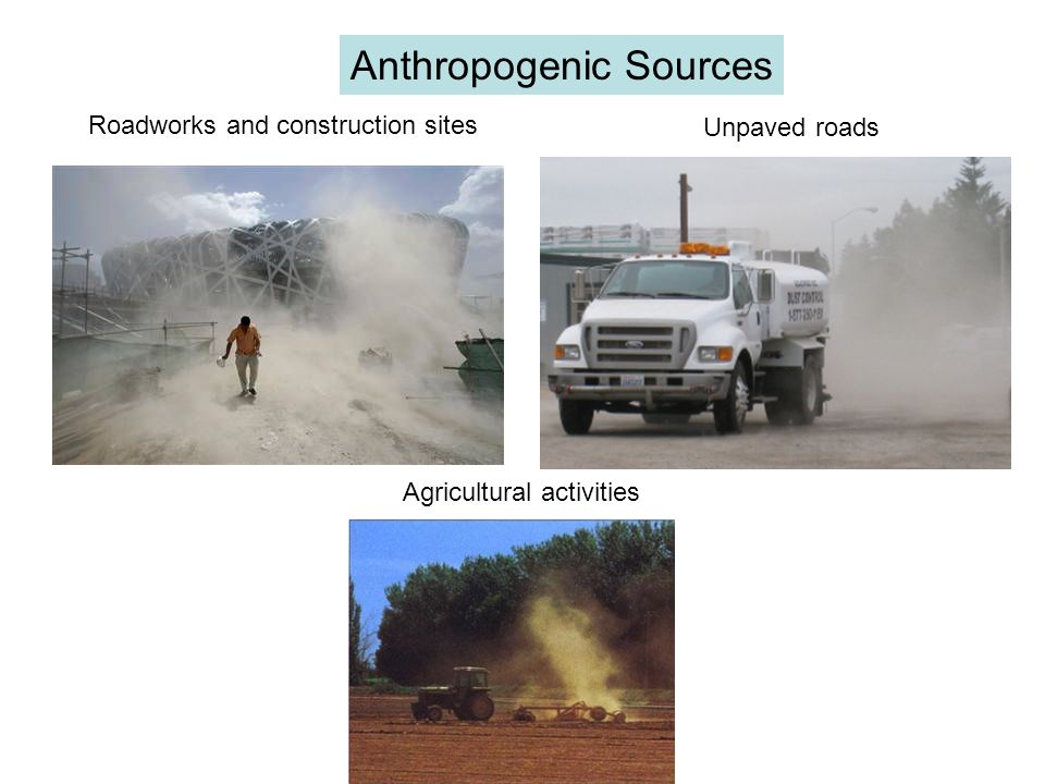Anthropogenic Sources Agricultural activities Unpaved roads Roadworks and construction sites