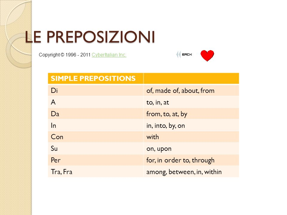 LE PREPOSIZIONI SIMPLE PREPOSITIONS Diof, made of, about, from Ato, in, at Dafrom, to, at, by Inin, into, by, on Conwith Suon, upon Perfor, in order to, through Tra, Fraamong, between, in, within Copyright © CyberItalian Inc.CyberItalian Inc.