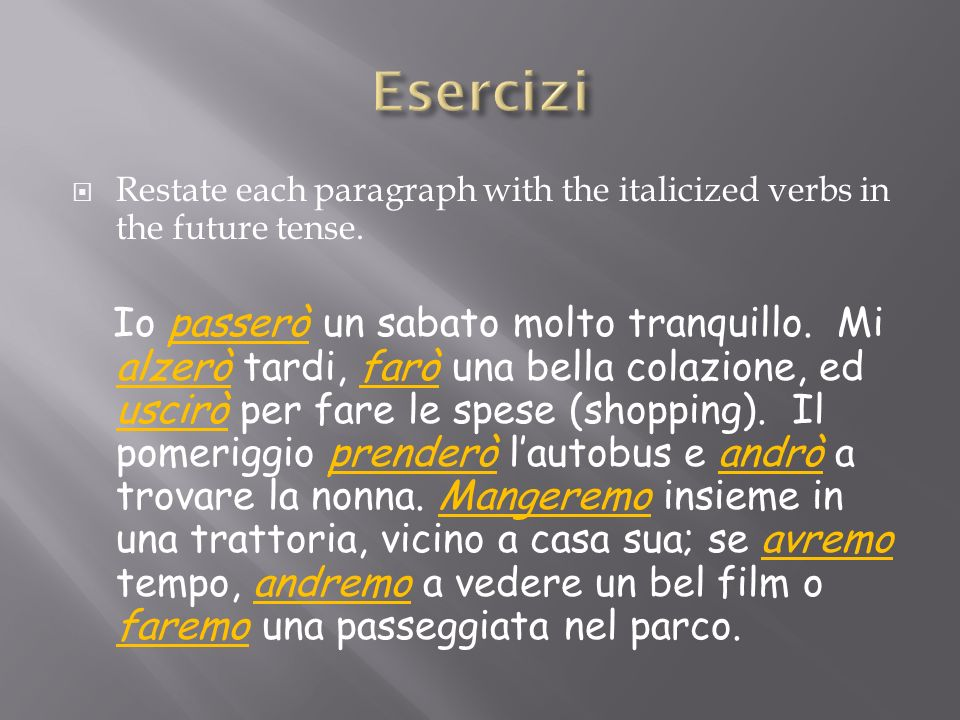 Restate each paragraph with the italicized verbs in the future tense.