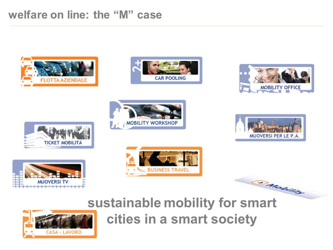 welfare on line: the M case sustainable mobility for smart cities in a smart society