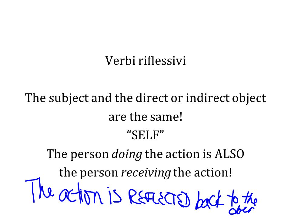 Verbi riflessivi The subject and the direct or indirect object are the same.