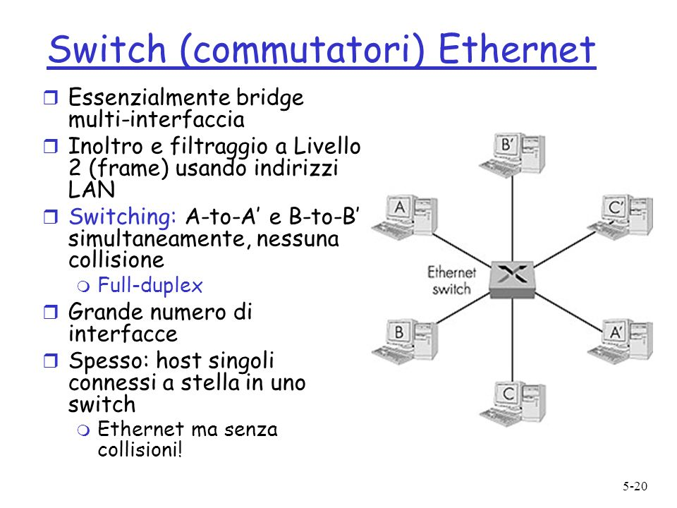 5-20 Switch (commutatori) Ethernet r Essenzialmente bridge multi-interfaccia r Inoltro e filtraggio a Livello 2 (frame) usando indirizzi LAN r Switching: A-to-A e B-to-B simultaneamente, nessuna collisione m Full-duplex r Grande numero di interfacce r Spesso: host singoli connessi a stella in uno switch m Ethernet ma senza collisioni!