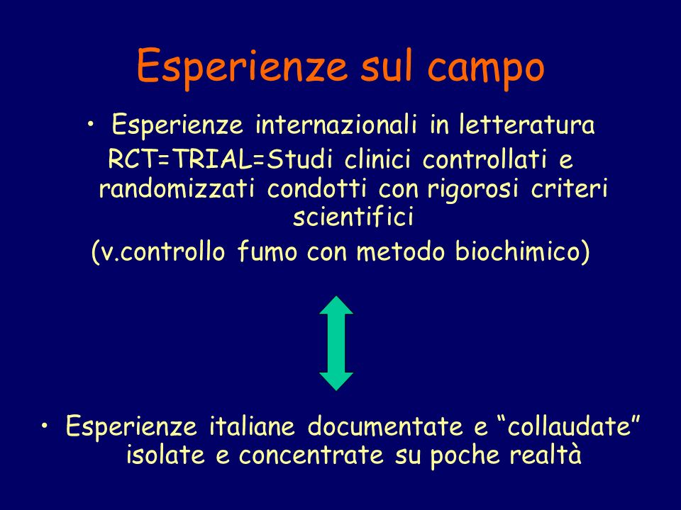 Esperienze sul campo Esperienze internazionali in letteratura RCT=TRIAL=Studi clinici controllati e randomizzati condotti con rigorosi criteri scientifici (v.controllo fumo con metodo biochimico) Esperienze italiane documentate e collaudate isolate e concentrate su poche realtà