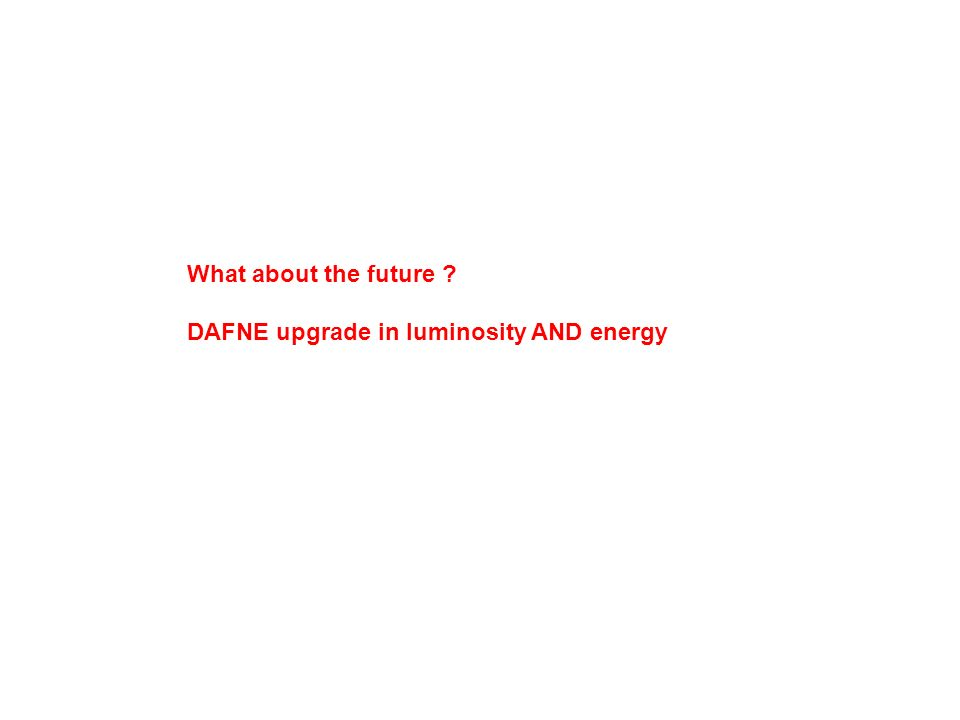 What about the future DAFNE upgrade in luminosity AND energy
