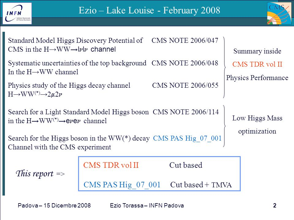 Padova – 15 Dicembre 2008Ezio Torassa – INFN Padova2 Ezio – Lake Louise - February 2008 Standard Model Higgs Discovery Potential of CMS NOTE 2006/047 CMS in the HWW l l channel Systematic uncertainties of the top background CMS NOTE 2006/048 In the HWW channel Physics study of the Higgs decay channel CMS NOTE 2006/055 HWW (*) 2 2 Search for a Light Standard Model Higgs boson CMS NOTE 2006/114 in the H WW (*) e e channel Search for the Higgs boson in the WW(*) decay CMS PAS Hig_07_001 Channel with the CMS experiment CMS TDR vol II Cut based CMS PAS Hig_07_001 Cut based + TMVA Summary inside CMS TDR vol II Physics Performance This report => Low Higgs Mass optimization
