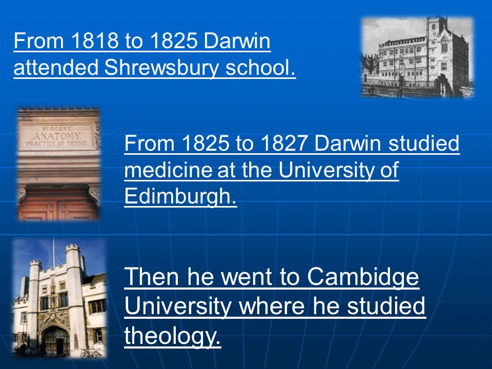From 1818 to 1825 Darwin attended Shrewsbury school.
