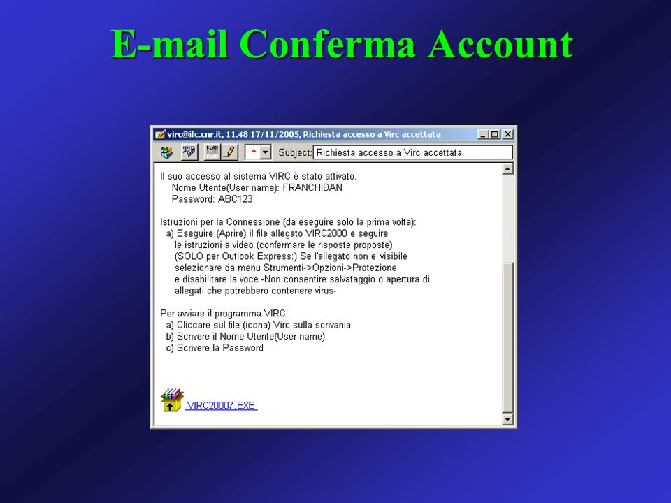 E-mail Conferma Account