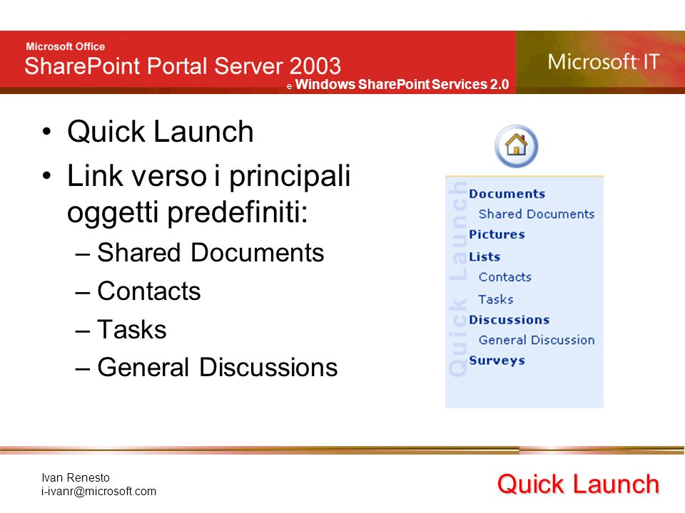 e Windows SharePoint Services 2.0 Ivan Renesto Quick Launch Link verso i principali oggetti predefiniti: –Shared Documents –Contacts –Tasks –General Discussions Quick Launch