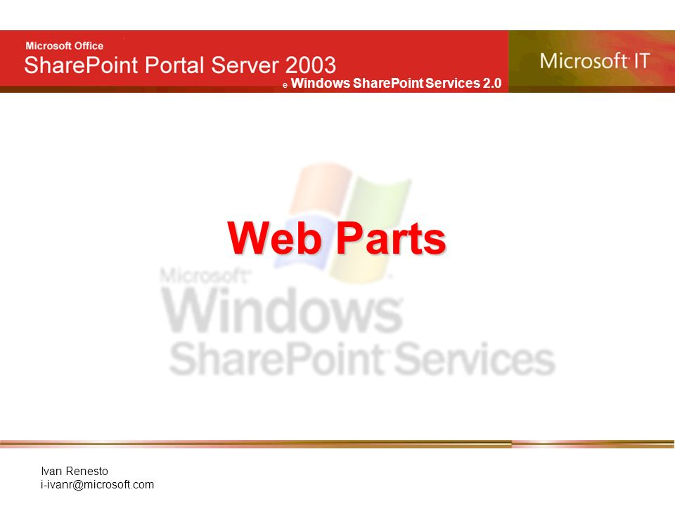 e Windows SharePoint Services 2.0 Ivan Renesto Web Parts