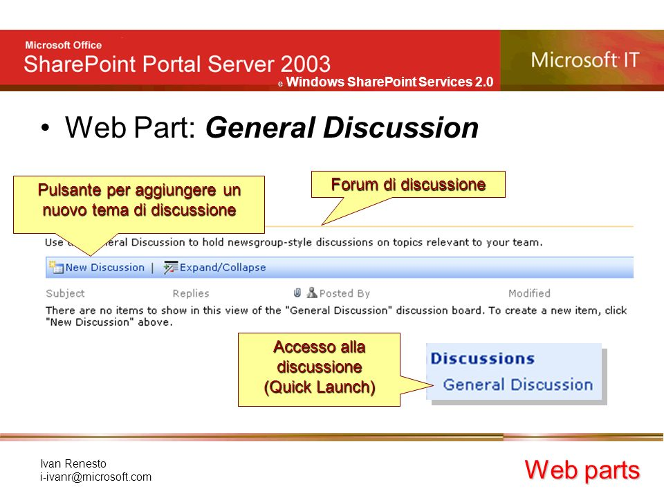 e Windows SharePoint Services 2.0 Ivan Renesto Web Part: General Discussion Web parts Forum di discussione Pulsante per aggiungere un nuovo tema di discussione Accesso alla discussione (Quick Launch)