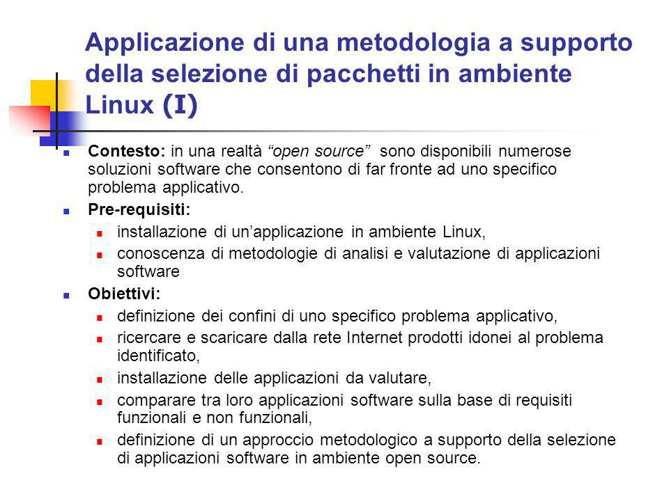 Applicazione di una metodologia a supporto della selezione di pacchetti in ambiente Linux (I) Contesto: in una realtà open source sono disponibili numerose soluzioni software che consentono di far fronte ad uno specifico problema applicativo.