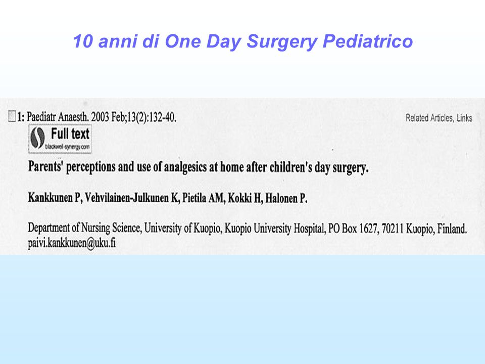 10 anni di One Day Surgery Pediatrico