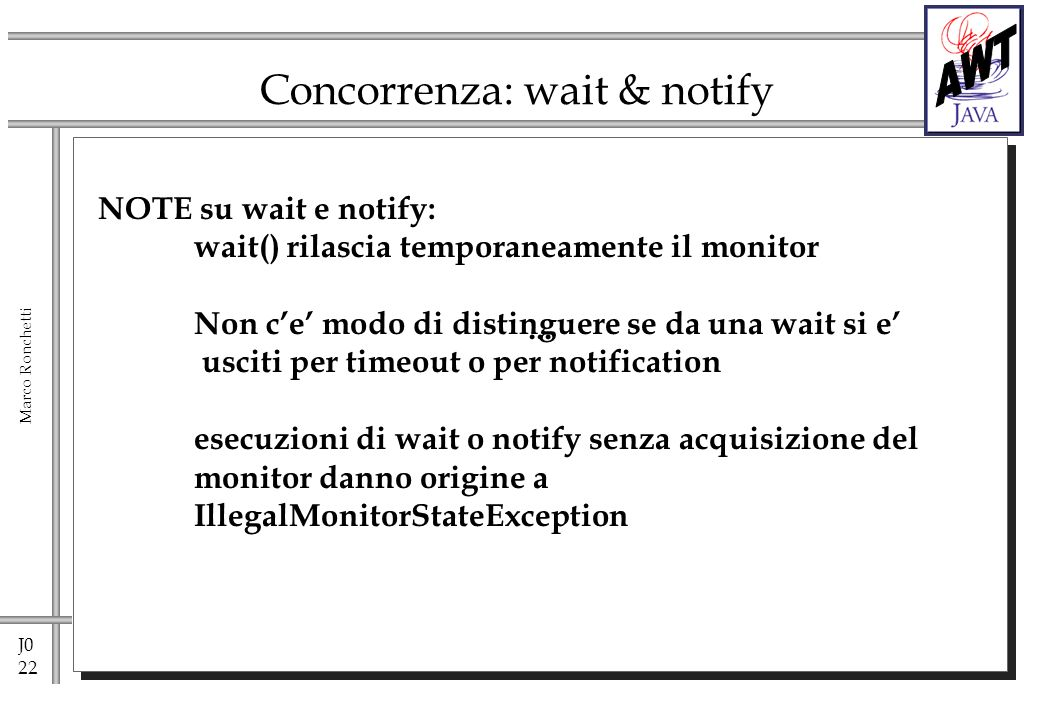 J0 22 Marco Ronchetti Concorrenza: wait & notify...