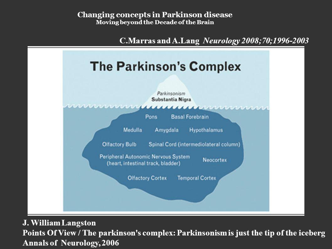 Changing concepts in Parkinson disease Moving beyond the Decade of the Brain C.Marras and A.Lang Neurology 2008;70; J.