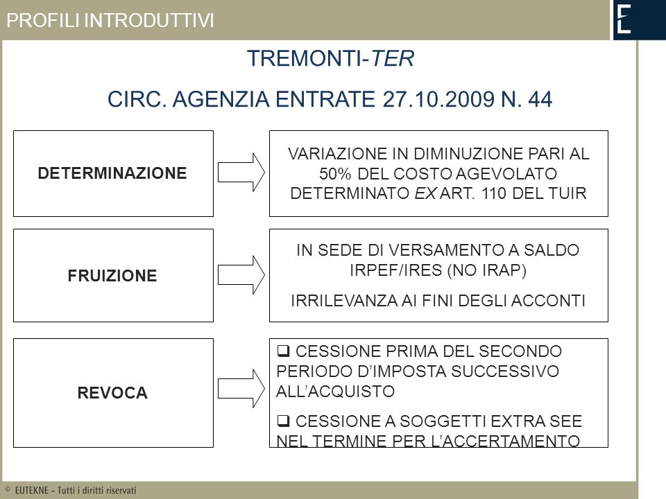 TREMONTI-TER CIRC. AGENZIA ENTRATE 27.10.2009 N.