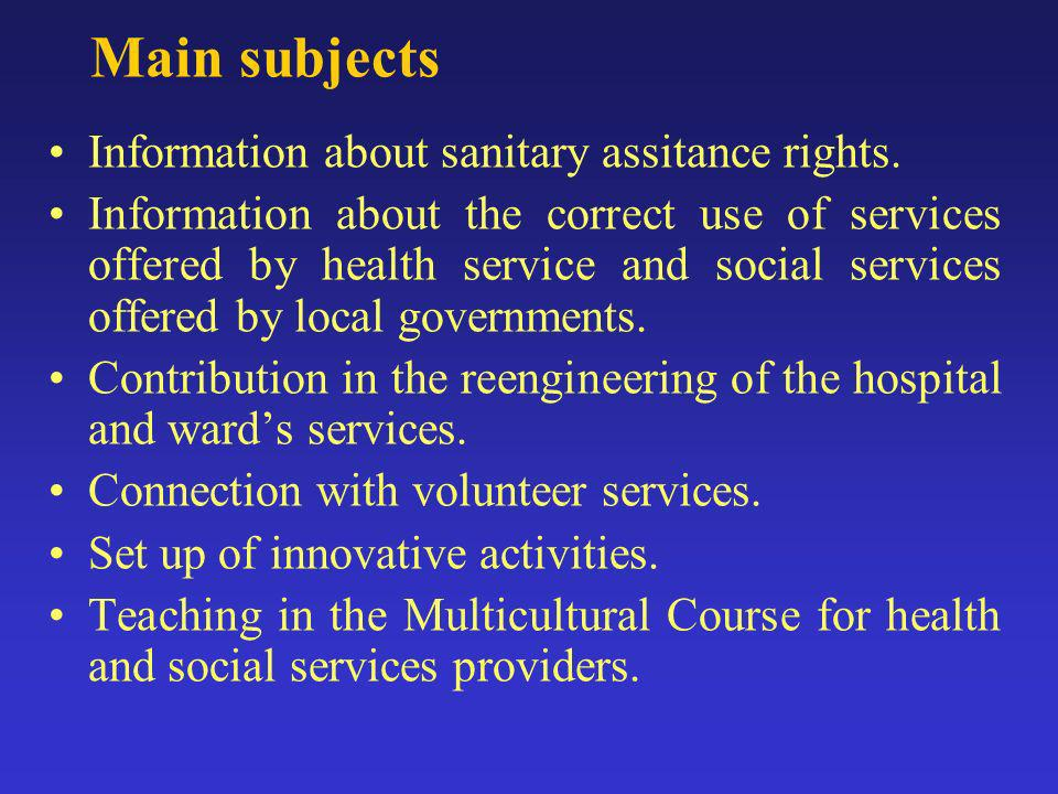 Main subjects Information about sanitary assitance rights.