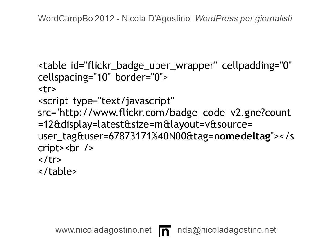 <script type= text/javascript src=   count =12&display=latest&size=m&layout=v&source= user_tag&user= %40N00&tag=nomedeltag > WordCampBo Nicola D Agostino: WordPress per giornalisti