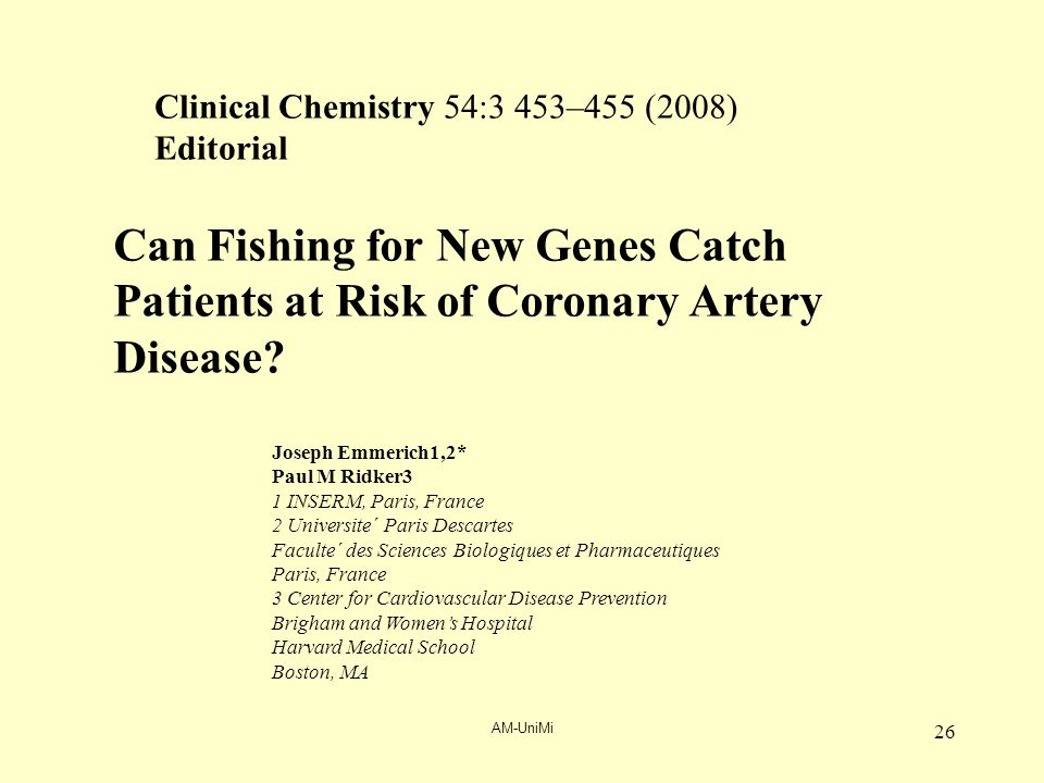 AM-UniMi 26 Can Fishing for New Genes Catch Patients at Risk of Coronary Artery Disease.