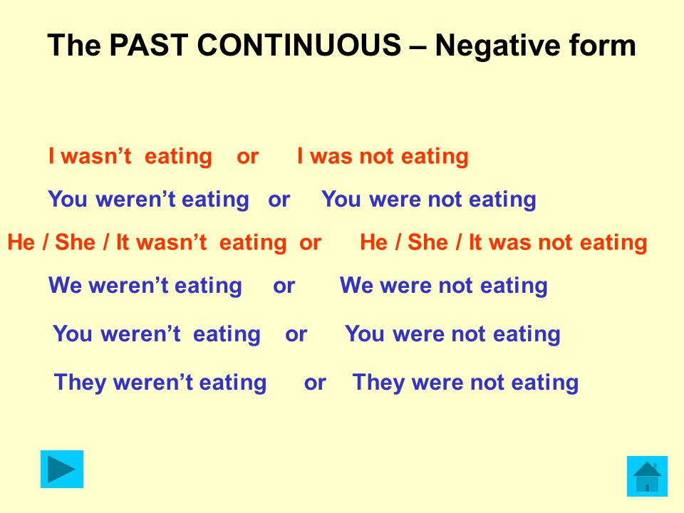 The PAST CONTINUOUS – Negative form I wasn't eating or I was not eating You weren't eating or You were not eating He / She / It wasn't eating or He / She / It was not eating We weren't eating or We were not eating You weren't eating or You were not eating They weren't eating or They were not eating