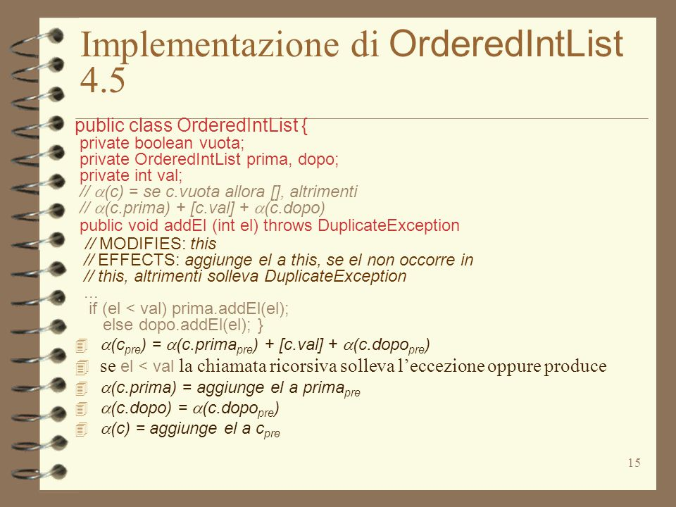15 Implementazione di OrderedIntList 4.5 public class OrderedIntList { private boolean vuota; private OrderedIntList prima, dopo; private int val; //  (c) = se c.vuota allora [], altrimenti //  (c.prima) + [c.val] +  (c.dopo) public void addEl (int el) throws DuplicateException // MODIFIES: this // EFFECTS: aggiunge el a this, se el non occorre in // this, altrimenti solleva DuplicateException...