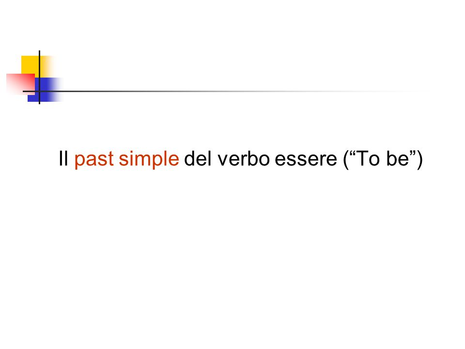 Il past simple del verbo essere ( To be )