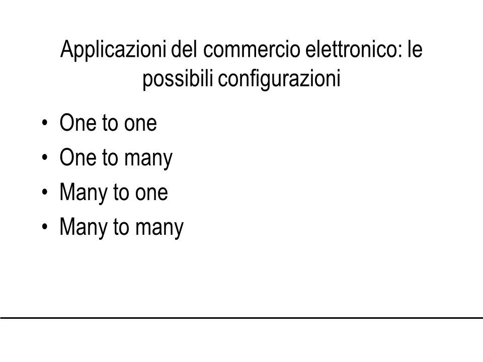 Applicazioni del commercio elettronico: le possibili configurazioni One to one One to many Many to one Many to many