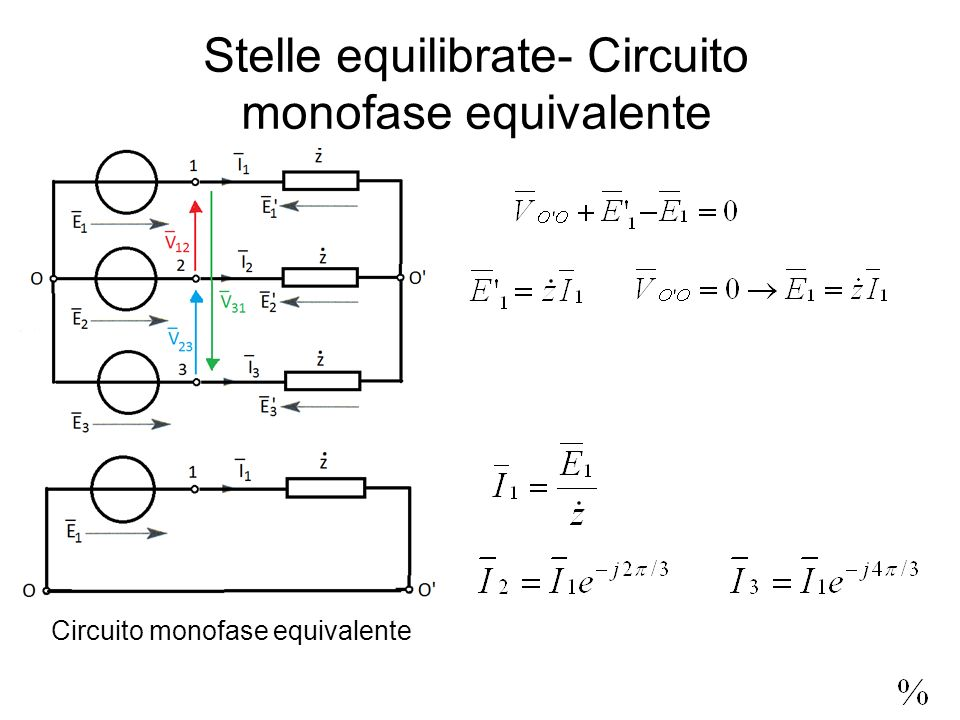 Stelle equilibrate- Circuito monofase equivalente Circuito monofase equivalente