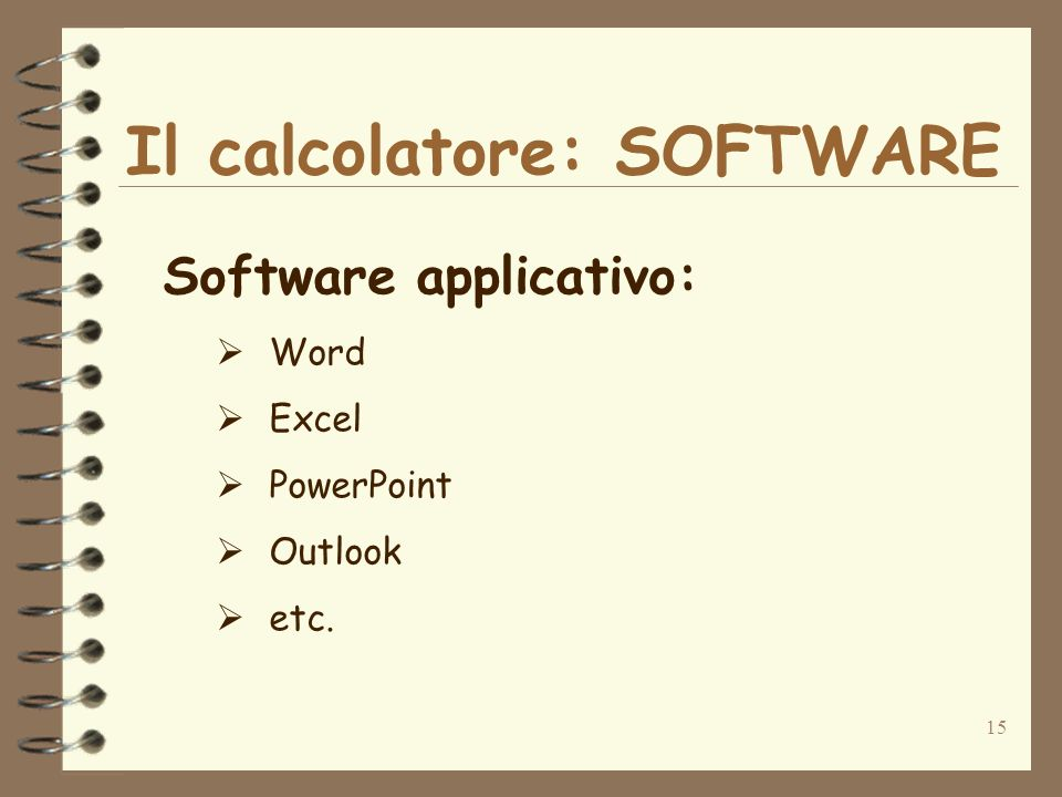 15 Il calcolatore: SOFTWARE Software applicativo: Word Excel PowerPoint Outlook etc.