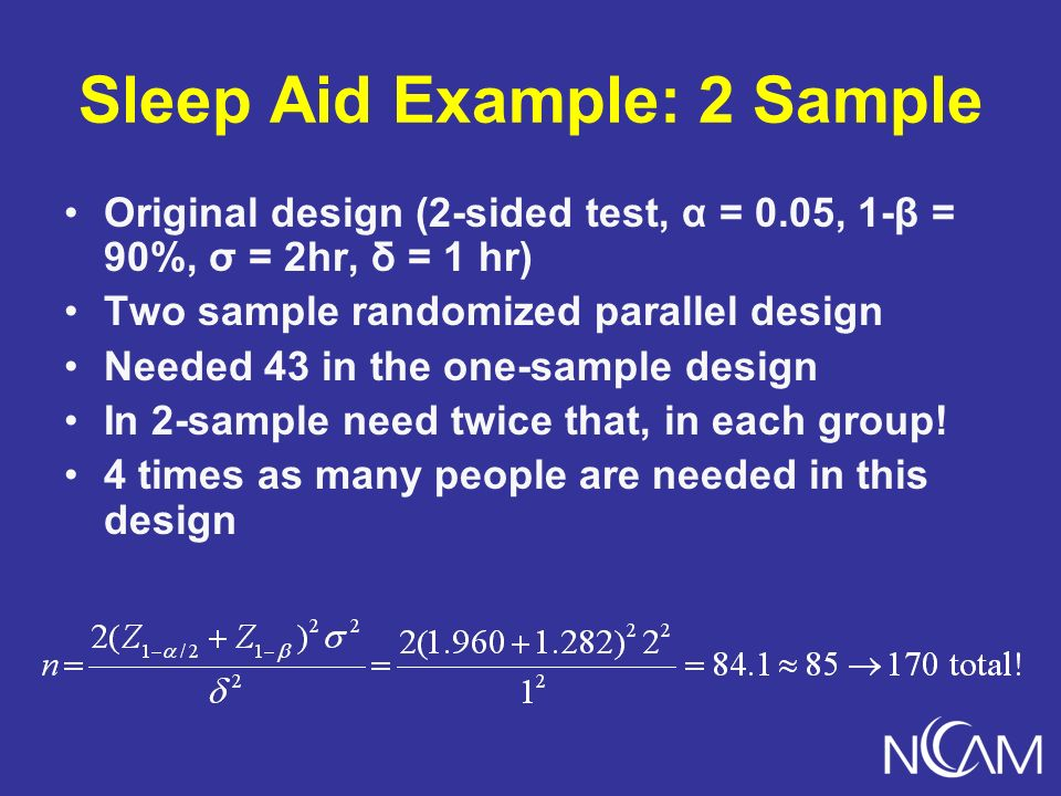 Sleep Aid Example: 2 Sample Original design (2-sided test, α = 0.05, 1-β = 90%, σ = 2hr, δ = 1 hr) Two sample randomized parallel design Needed 43 in the one-sample design In 2-sample need twice that, in each group.