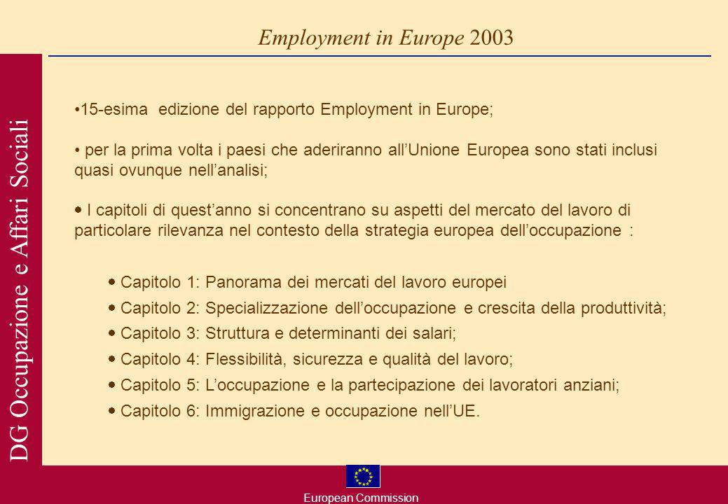 European Commission DG Occupazione e Affari Sociali new EES 2003 European Employment Taskforce areas for reform (report released on 26 November 2003) overarching objectives: full employment improving quality and productivity at work strengthening social cohesion and inclusion 10 specific guidelines: active and preventive measures for the unemployed and inactive job creation and entrepreneurship address change and promote adaptability and mobility promote development of human capital and lifelong learning increase labour supply and promote active ageing gender equality promote the integration and combat the discrimination against people at a disadvantage in the labour market make work pay through incentives to enhance work attractiveness transform undeclared work into regular employment address regional employment disparities 1.