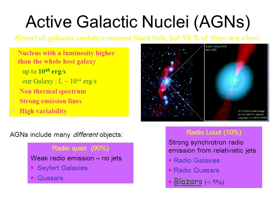 Active Galactic Nuclei (AGNs) AGNs include many different objects: Radio quiet (90%) Weak radio emission – no jets Seyfert Galaxies Quasars Radio Loud (10%) Strong synchrotron radio emission from relativistic jets Radio Galaxies Radio Quasars Blazars (< 5%) Nucleus with a luminosity higher than the whole host galaxy up to 10 48 erg/s our Galaxy : L ~ 10 44 erg/s Non thermal spectrum Strong emission lines High variability Almost all galaxies contain a massive black hole, but 99 % of them are silent.