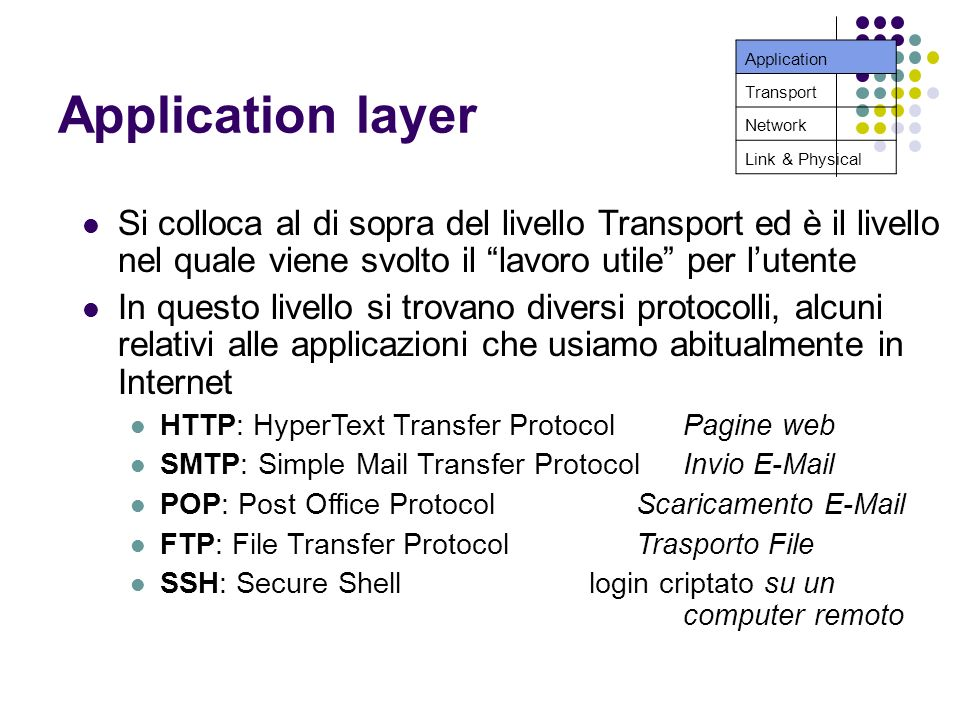 Application layer Si colloca al di sopra del livello Transport ed è il livello nel quale viene svolto il lavoro utile per lutente In questo livello si trovano diversi protocolli, alcuni relativi alle applicazioni che usiamo abitualmente in Internet HTTP: HyperText Transfer Protocol Pagine web SMTP: Simple Mail Transfer ProtocolInvio  POP: Post Office ProtocolScaricamento  FTP: File Transfer ProtocolTrasporto File SSH: Secure Shell login criptato su un computer remoto Application Transport Network Link & Physical