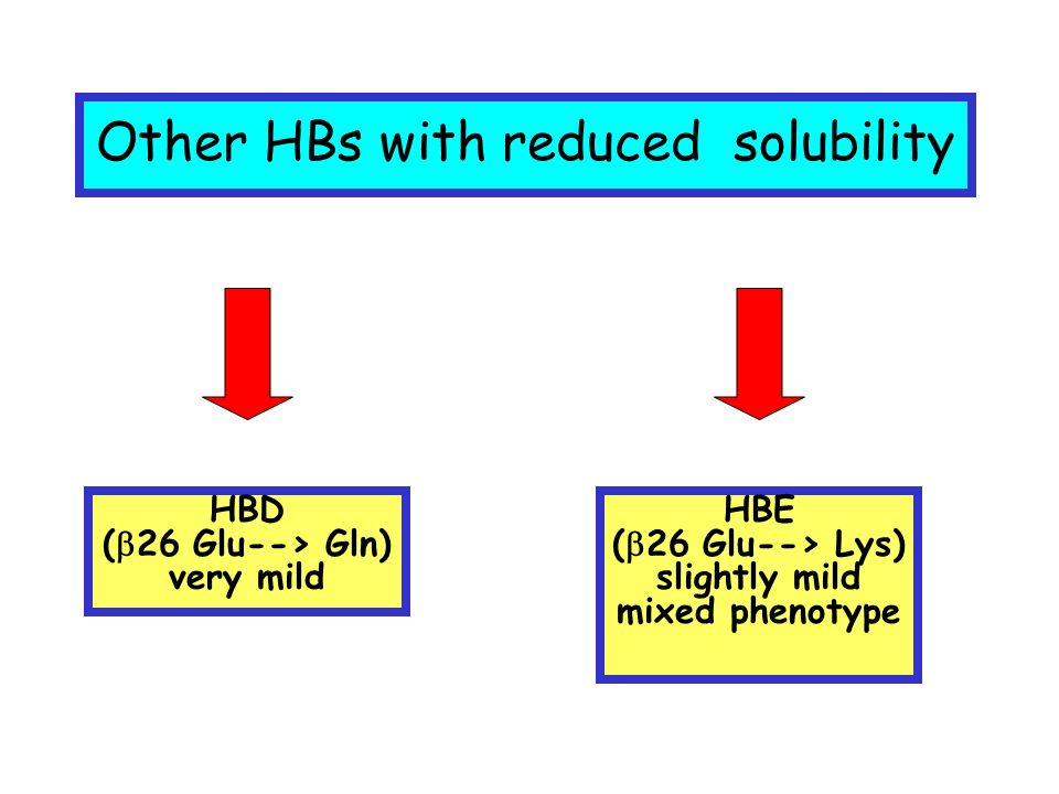 Other HBs with reduced solubility HBD ( 26 Glu--> Gln) very mild HBE ( 26 Glu--> Lys) slightly mild mixed phenotype
