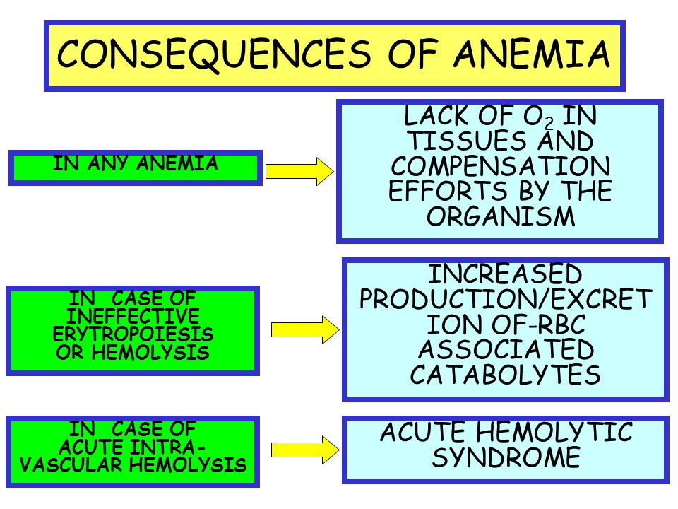 CONSEQUENCES OF ANEMIA LACK OF O 2 IN TISSUES AND COMPENSATION EFFORTS BY THE ORGANISM INCREASED PRODUCTION/EXCRET ION OF-RBC ASSOCIATED CATABOLYTES ACUTE HEMOLYTIC SYNDROME IN ANY ANEMIA IN CASE OF INEFFECTIVE ERYTROPOIESIS OR HEMOLYSIS IN CASE OF ACUTE INTRA- VASCULAR HEMOLYSIS