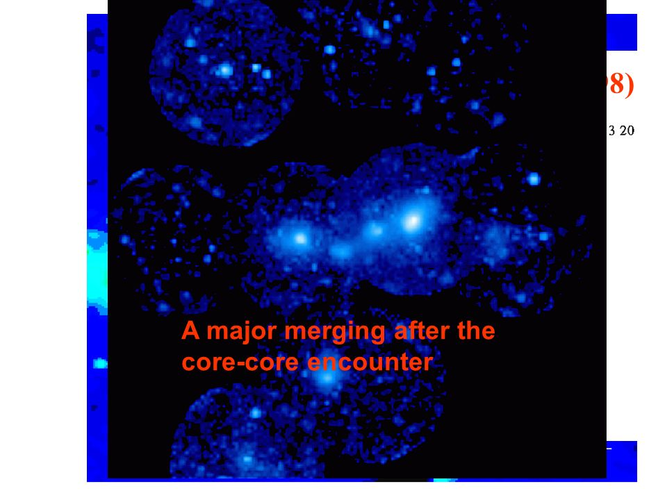 700 redshifts (Bardelli et al 1998) A major merging after the core-core encounter