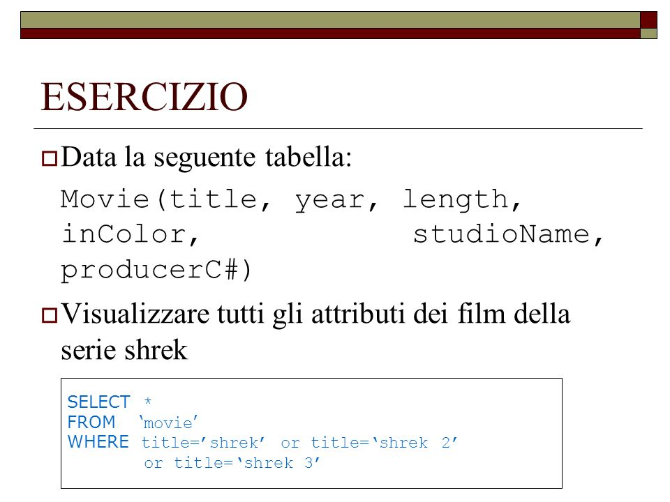 ESERCIZIO Data la seguente tabella: Movie(title, year, length, inColor, studioName, producerC#) Visualizzare tutti gli attributi dei film della serie shrek SELECT * FROM movie WHERE title=shrek or title=shrek 2 or title=shrek 3
