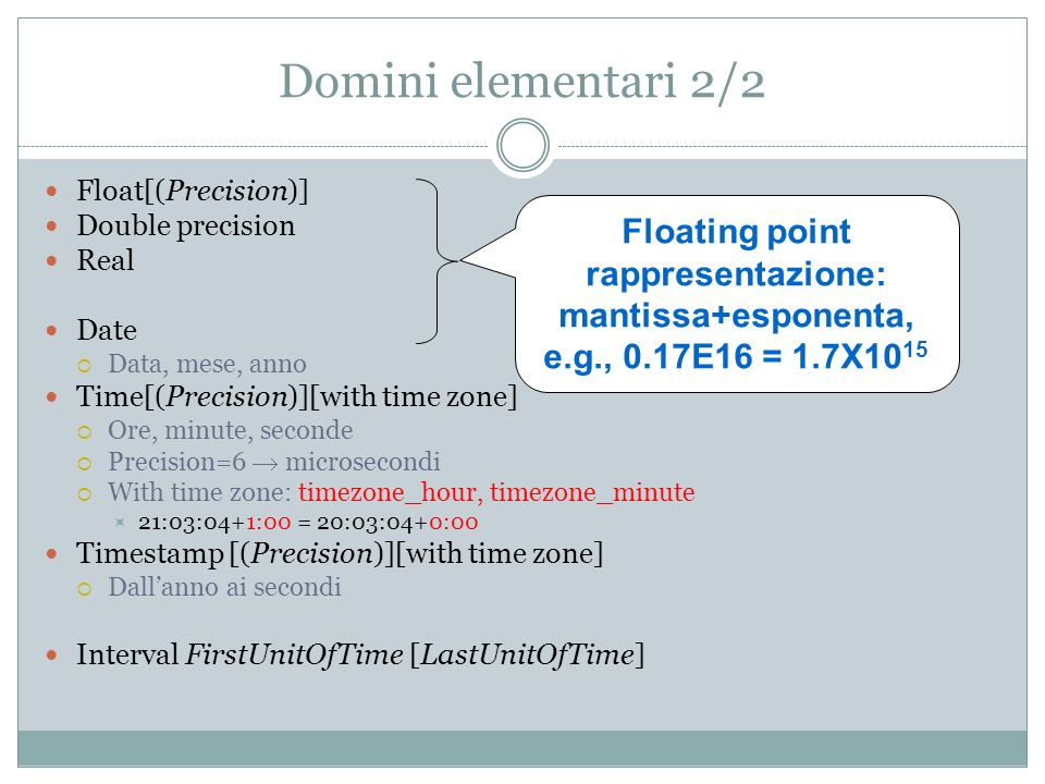 Domini elementari 2/2 Float[(Precision)] Double precision Real Date Data, mese, anno Time[(Precision)][with time zone] Ore, minute, seconde Precision=6 microsecondi With time zone: timezone_hour, timezone_minute 21:03:04+1:00 = 20:03:04+0:00 Timestamp [(Precision)][with time zone] Dallanno ai secondi Interval FirstUnitOfTime [LastUnitOfTime] Floating point rappresentazione: mantissa+esponenta, e.g., 0.17E16 = 1.7X10 15