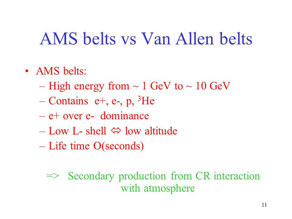 11 AMS belts vs Van Allen belts AMS belts: –High energy from ~ 1 GeV to ~ 10 GeV –Contains e+, e-, p, 3 He –e+ over e- dominance –Low L- shell low altitude –Life time O(seconds) => Secondary production from CR interaction with atmosphere