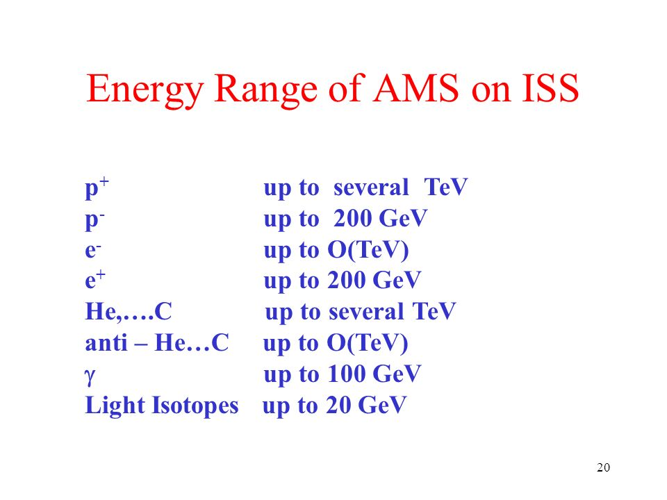 20 Energy Range of AMS on ISS p + up to several TeV p - up to 200 GeV e - up to O(TeV) e + up to 200 GeV He,….C up to several TeV anti – He…C up to O(TeV) up to 100 GeV Light Isotopes up to 20 GeV