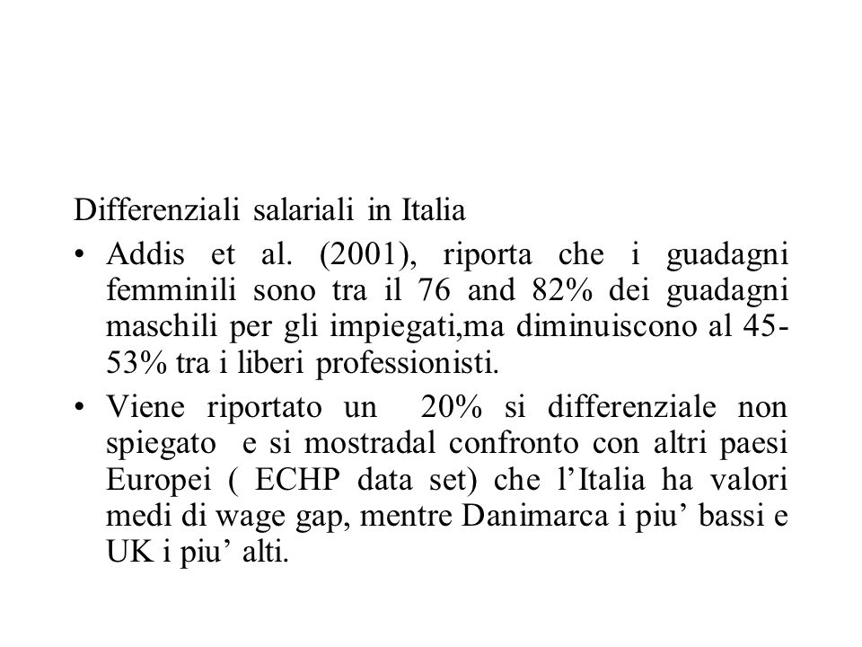 Differenziali salariali in Italia Addis et al.