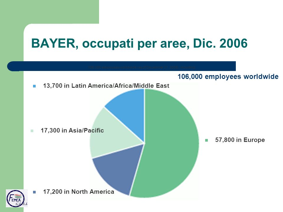 BAYER, occupati per aree, Dic.