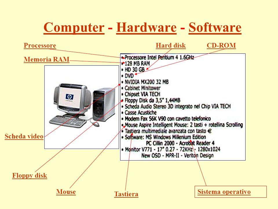 ComputerComputer - Hardware - SoftwareHardwareSoftware Processore Memoria RAM Hard diskCD-ROM Sistema operativo Floppy disk Tastiera Mouse Scheda video